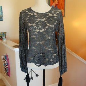 Zara Grey Lace LS Fall Sexy Ribbon Ties Blouse S